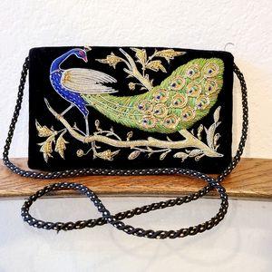 Vintage Velvet Peacock Purse